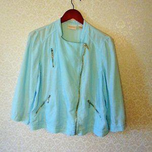 Chicos Linen Asymmetrical Zip Front Jacket